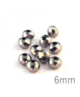Perles rondelles à facettes 6mm argent