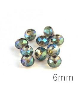 Perles rondelles à facettes 6mm cristal vert