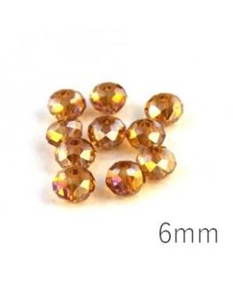 Perles rondelles à facettes 6mm topaz AB