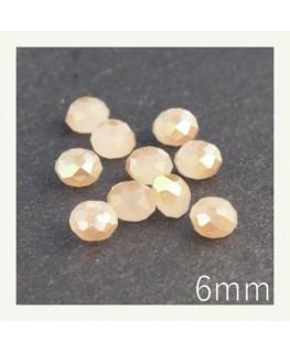 Perles rondelles à facettes 6mm beige irisé