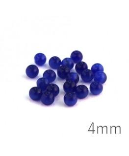 Perle oeil de chat 4mm bleu foncé x20