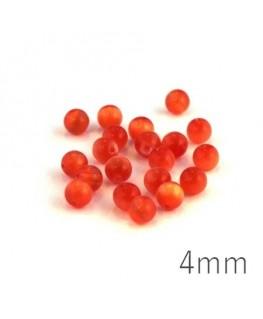 Perle oeil de chat 4mm orange foncé x20