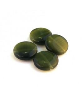 Perle palet oeil de chat 15mm vert kaki