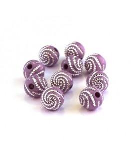 Perle acrylique motif spirale lilas x20