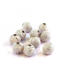 Perle acrylique motif spirale blanc x20