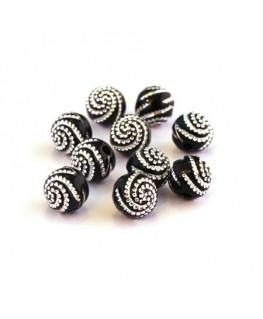 Perle acrylique motif spirale noir x20