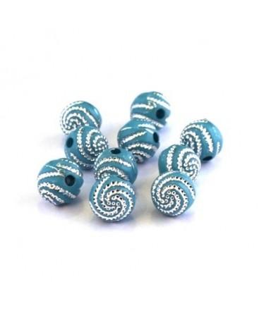 Perle acrylique motif spirale turquoise x20