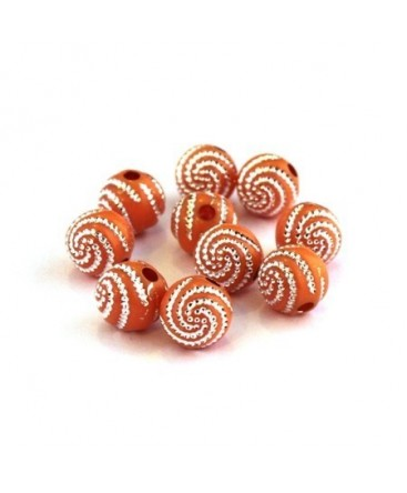 Perle acrylique motif spirale orange x20