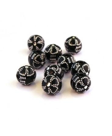 Perle acrylique motif fleur noir x20