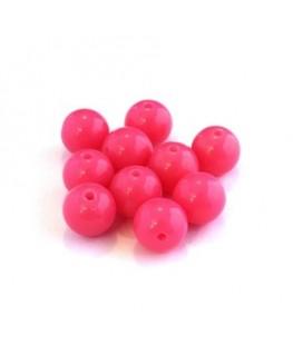 Perle acrylique 10mm rose fluo x25
