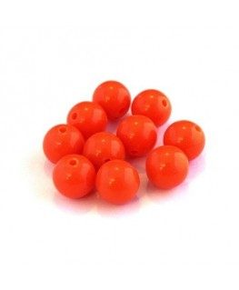Perle acrylique 10mm orange fluo x25
