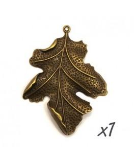 Pendentif breloque feuille bronze