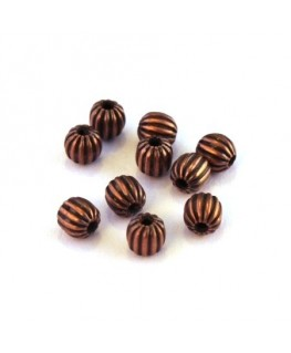 Perles striées en métal 4mm cuivre x10