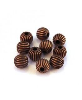 Perles striées en métal 6mm cuivre x10
