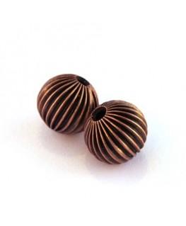 Perles striées en métal 12mm cuivre x2