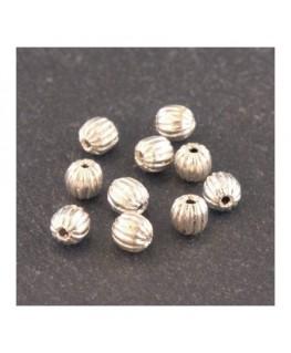 Perles striées 4mm en métal argenté x10