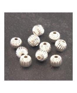 Perles striées 6mm en métal argenté x10