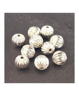 Perles striées 8mm en métal argenté x10