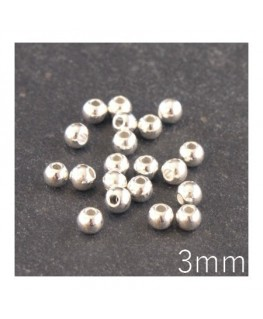 Perles métal 3mm argenté x20