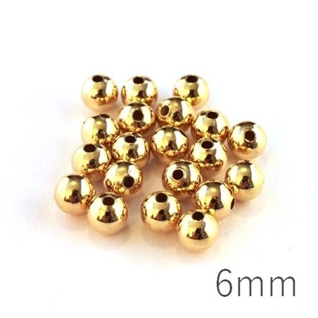 Perle métal creuse 6 mm doré x20