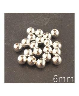 Perle métal creuse 6 mm argenté x20