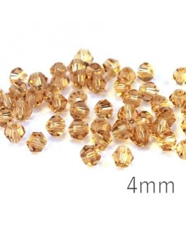 Perles toupies verre 4mm light topaz x50