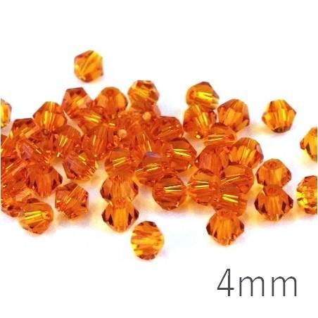 Perles toupies verre 4mm tangerine x50