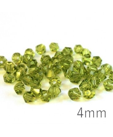 Perles toupies verre 4mm olivine x50