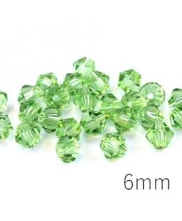 Perles toupies 6mm vert chrysilite x25
