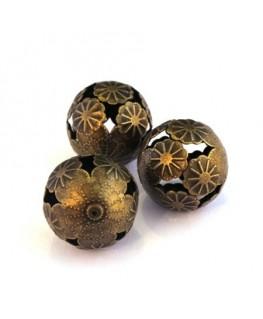 Perle en métal découpé 20mm bronze