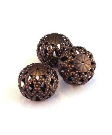 Perle ronde aplatie filigrane cuivre 20mm