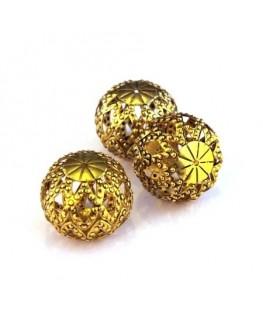 Perle ronde aplatie filigrane doré 20mm