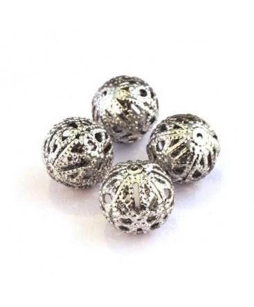 Perle filigranée ronde 14mm vieil argent x4