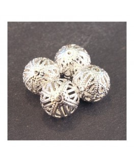 Perle filigranée ronde 14mm argenté x4