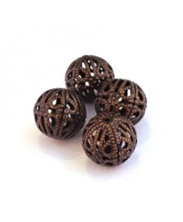 Perle filigranée ronde 14mm cuivre x4