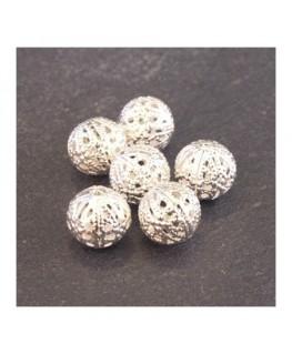 Perle filigranée ronde 10mm argenté x6