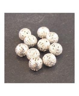 Perle filigranée ronde 8mm argenté x10