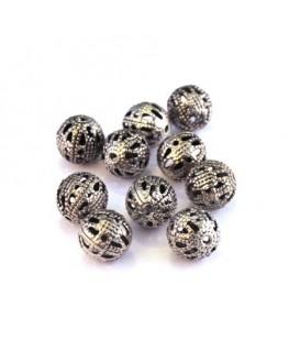 Perle filigranée ronde 8mm vieil argent x10