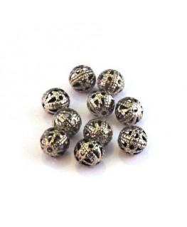 Perle filigranée ronde 6mm vieil argent x10