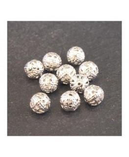 Perle filigranée ronde 6mm argenté x10