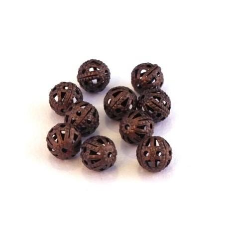 Perle filigranée ronde 6mm cuivre x10
