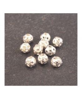 Perle filigranée ronde 4mm argenté x10