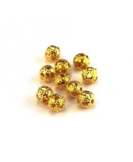 Perle filigranée ronde 4mm doré x10