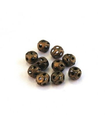 Perle filigranée ronde 4mm bronze x10