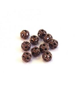 Perle filigranée ronde 4mm cuivre x10