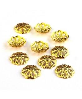 Coupelles filigranées 9mm doré x25