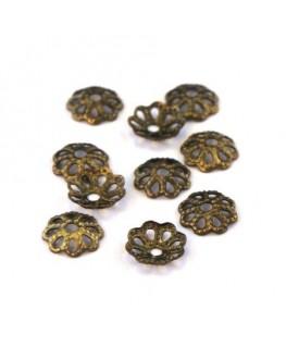 Coupelles filigranées 6mm bronze x50