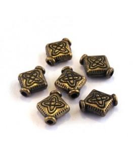 Perle intercalaire losange en métal bronze x10
