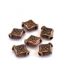 Perle intercalaire losange en métal cuivre x10