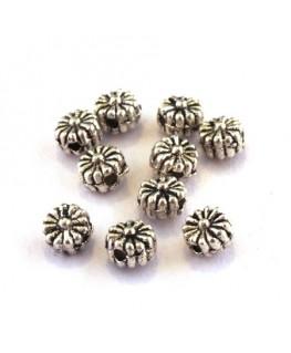 Perle intercalaire fleur en métal argent vieilli x10